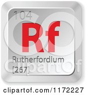 Clipart Of A 3d Red And Silver Rutherfordium Chemical Element Keyboard Button Royalty Free Vector Illustration