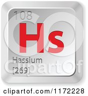 Clipart Of A 3d Red And Silver Hassium Chemical Element Keyboard Button Royalty Free Vector Illustration