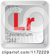 Clipart Of A 3d Red And Silver Lawrencium Chemical Element Keyboard Button Royalty Free Vector Illustration