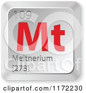 Clipart Of A 3d Red And Silver Meitnerium Chemical Element Keyboard Button Royalty Free Vector Illustration