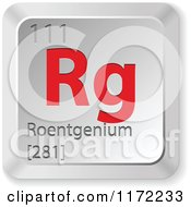 Clipart Of A 3d Red And Silver Roentgenium Chemical Element Keyboard Button Royalty Free Vector Illustration