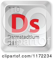 Clipart Of A 3d Red And Silver Darmstadtium Chemical Element Keyboard Button Royalty Free Vector Illustration