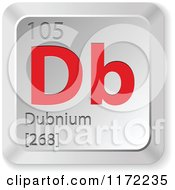 Clipart Of A 3d Red And Silver Dubnium Chemical Element Keyboard Button Royalty Free Vector Illustration