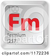 Clipart Of A 3d Red And Silver Fermium Chemical Element Keyboard Button Royalty Free Vector Illustration