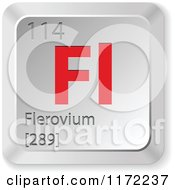 Clipart Of A 3d Red And Silver Flerovium Chemical Element Keyboard Button Royalty Free Vector Illustration