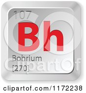 Clipart Of A 3d Red And Silver Bohrium Chemical Element Keyboard Button Royalty Free Vector Illustration