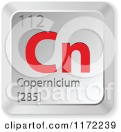 Clipart Of A 3d Red And Silver Copernicium Chemical Element Keyboard Button Royalty Free Vector Illustration