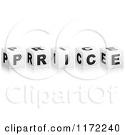 Clipart Of 3d Black And White Cubes Spelling PRICE Royalty Free Vector Illustration