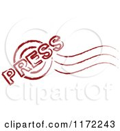 Clipart Of A Red PRESS Post Stamp Royalty Free Vector Illustration by Andrei Marincas