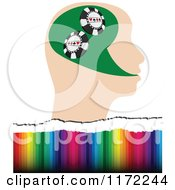 Clipart Of A Poker Player Head With Poker Chips Over Colors Royalty Free Vector Illustration by Andrei Marincas
