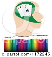 Clipart Of A Poker Player Head With Four Aces Over Colors Royalty Free Vector Illustration by Andrei Marincas
