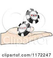 Clipart Of A Poker Player Hand Holding Chips Royalty Free Vector Illustration