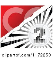 Clipart Of A Pixel Number 2 Over Black And White Rays And Torn Paper On Red Royalty Free Vector Illustration