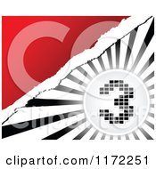 Clipart Of A Pixel Number 3 Over Black And White Rays And Torn Paper On Red Royalty Free Vector Illustration