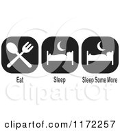 Clipart Of Black And White Eat Sleep Slee Psome More Icons Royalty Free Illustration