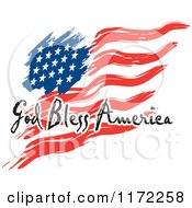 Clipart Of A Waving American Flag And God Bless America Text Royalty Free Vector Illustration by Johnny Sajem