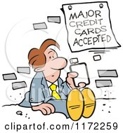 Cartoon Of A Man Sitting With A Cell Phone Under A Major Credit Cards Accepted Sign Royalty Free Vector Clipart