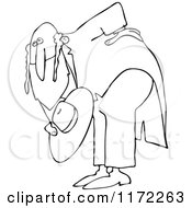 Cartoon Of An Outlined Polite Rabbi Bowing Royalty Free Vector Clipart by djart