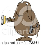 Cartoon Of A Guard Dog Holding A Flashlight And Gun In The Dark Royalty Free Clipart