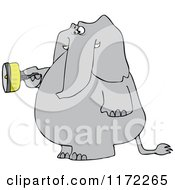 Elephant Standing And Using A Flashlight