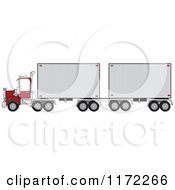 Cartoon Of A Big Rig Truck With A Double Trailer Royalty Free Vector Clipart