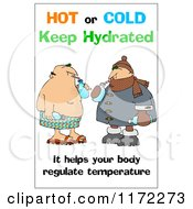 Cartoon Of A Keep Hydrated Warning With Men Drinking Water Royalty Free Clipart by djart