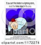 Cartoon Of A Man Ducking In A Lightning Storm With Warning Text Royalty Free Clipart