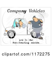 Cartoon Of A Man Smoking By A Work Vehicle With Text Royalty Free Clipart by djart