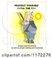 Cartoon Of A Sunscreen Warning And A Man Batting Royalty Free Clipart by djart