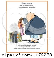 Cartoon Of A Man Setting Clothes On A Floor Heater With Warning Text Royalty Free Clipart by Dennis Cox