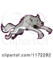 Clipart Of A Gray Wolf Leaping With A Red Outline Royalty Free Vector Illustration
