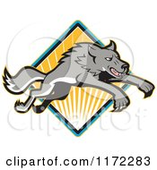 Clipart Of A Gray Wolf Leaping Over A Diamond Of Rays Royalty Free Vector Illustration