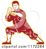 Clipart Of A Shaolin Kung Fu Martial Artist In A Fighting Stance Royalty Free Vector Illustration by patrimonio