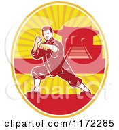 Clipart Of A Shaolin Kung Fu Martial Artist In A Fighting Stance In An Oval With A Pagoda Royalty Free Vector Illustration