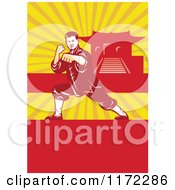Clipart Of A Shaolin Kung Fu Martial Artist In A Fighting Stance With Rays Copyspace And A Pagoda Royalty Free Vector Illustration by patrimonio
