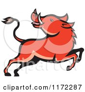 Clipart Of A Razorback Boar Leaping And Looking Back Royalty Free Vector Illustration by patrimonio