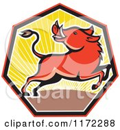 Clipart Of A Razorback Boar Leaping And Looking Back In A Sunset Heptagon Royalty Free Vector Illustration