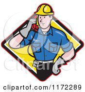 Clipart Of A Telephone Service Repair Man Holding A Receiver In A Yellow Diamond Royalty Free Vector Illustration
