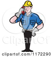 Clipart Of A Telephone Service Repair Man Holding A Receiver Royalty Free Vector Illustration by patrimonio