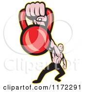 Clipart Of A Muscular Man Holding Out A Kettlebell Royalty Free Vector Illustration by patrimonio