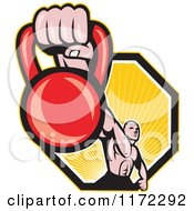 Clipart Of A Muscular Man Holding Out A Kettlebell Over A Hexagon Of Rays Royalty Free Vector Illustration by patrimonio