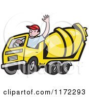 Clipart Of A Cement Truck Driver Waving Royalty Free Vector Illustration by patrimonio