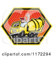 Clipart Of A Cement Truck Driver Waving In A Hexagon Royalty Free Vector Illustration by patrimonio