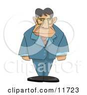 Stern Male Boss With His Arms At His Sides Clipart Illustration by AtStockIllustration
