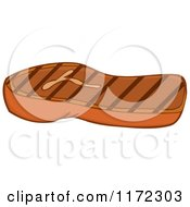 Cartoon Of A Grilled Steak Royalty Free Vector Clipart by Hit Toon