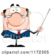 Cartoon Of A Happy Caucasian Businessman Or Professor Holding A Pointer Stick Royalty Free Vector Clipart