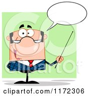 Cartoon Of A Talking Caucasian Businessman Or Professor Holding A Pointer Stick Over Green Royalty Free Vector Clipart