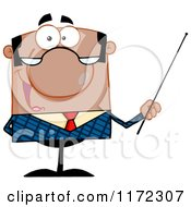 Cartoon Of A Happy Black Indian Or Hispanic Businessman Or Professor Holding A Pointer Stick Royalty Free Vector Clipart