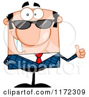 Cartoon Of A Happy Caucasian Businessman Wearing Sunglasses And Holding A Thumb Up Royalty Free Vector Clipart