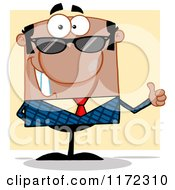 Cartoon Of A Happy Black Hispanic Or Indian Businessman Wearing Sunglasses And Holding A Thumb Up Over Yellow Royalty Free Vector Clipart by Hit Toon